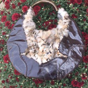 Francesco Biasia Rabbit Fur Patent Hobo
